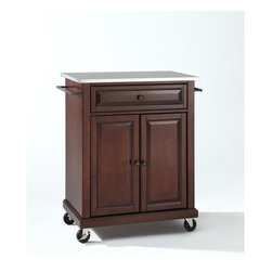 Crosley - Kitchen Cart with Stainless Steel Top - This portable kitchen cart is designed for longevity. Panel doors and drawer front provide the ultimate in style to dress up your kitchen. The deep drawer is great for anything from utensils to storage containers. Behind the two doors, you will find an abundance of storage space for things that you prefer to be out of sight. The heavy duty casters provide the ultimate in mobility. When the cabinet is where you want it, simply engage the locking casters to prevent movement. Style, function, and quality make this portable kitchen cart a wise addition to your home. Features: -Portable kitchen cart/island.-Stainless steel top.-Two towel bars.-Beautiful raised panel doors.-Two locking casters for stability.-Distressed: No.-Product Type: Compact kitchen cart.-Counter Finish: Stainless steel.-Powder Coated Finish: No.-Gloss Finish: No.-Base Material: Hardwood and veneers.-Hardware Material: Steel.-Solid Wood Construction: No.-Exterior Shelves: No.-Drawers Included: Yes -Number of Drawers: 1.-Push Through Drawer: No.-Dovetail Joints: No.-Drawer Dividers: No.-Drawer Handle Design: Knob.-Silverware Tray : No..-Cabinets Included: Yes -Number of Cabinets : 1.-Double Sided Cabinet: No.-Number of Interior Shelves: 1.-Adjustable Interior Shelves: Yes.-Number of Doors: 2.-Magnetic Door Catches: Yes.-Locking Doors: No.-Door Handle Design: Knob..-Towel Rack: Yes -Removable Towel Rack: No..-Pot Rack: No.-Spice Rack: No.-Cutting Board: No.-Drop Leaf: No.-Drain Groove: No.-Trash Bin Compartment: No.-Stools Included: No.-Casters: Yes -Locking Casters: Yes.-Removable Casters: No..-Wine Rack: No.-Stemware Rack: No.-Cart Handles: No.-Finished Back: Yes.-Swatch Available: No.-Commercial Use: No.-Recycled Content: No.-Eco-Friendly: No.-Product Care: Use a soft clean cloth that will not scratch the surface when dusting. Use of furniture polish is not necessary. Should you choose to use a furniture polish, test in an inconspicuous area first. Us