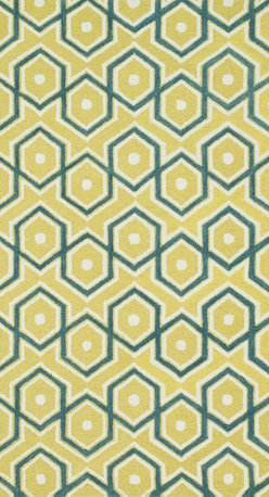 """Loloi Rugs - Loloi Rugs Weston Collection - Lemon / Aqua, 7'-9"""" x 9'-9"""" - Feast your eyes on this. Hand-tufted in India of 100% wool, the tastefully designed Weston Collection features vibrant colors and bold, graphic patterns that instantly uplift the mood of your room. What's more, each Weston rug is crafted with a combination of colorful cut pile and ivory loops - adding a sense of depth and drama to these amazingly textural rugs."""