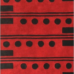"Noble House - Eleen Red/Black Rug - Produced with 100pct New Zealand wool, this collection is the bouquet of fresh modern designs in trendy and fashionable colors popular in the market. Nicely hand crafted, these splendid rugs complement the modern decor. Features: -Technique: Tufted / Crafted.-Material: New Zealand wool.-Depending on amount of traffic on rugs, professional cleaning or washing is required every 1 to 2 years..-Rugs should be vacuumed on regular basis to remove dust and dirt which would restore life to the fibers. Do not vacuum the fringes. Do not Vacuum Shaggy rugs as it will damage the rug. To clean the Shaggy rug, flip it over and shake well by hand..-To avoid spills setting deep and becoming stubborn, it is recommended to act immediately. When spills occur on rugs, put some water in the affected area to dilute, blot with clean white cloth or paper towel. Remove the moisture as much as possible by blotting with absorbent cloth or thick paper towel. Do not rub spills as could result in setting spills deeper in the affected area..-Features:Construction: Handmade.-Recommended Care:Do not expose rugs in direct sun light for longer time as it could result in faded colors of rugs..-Collection: Eleen.-Distressed: No.-Collection: Eleen.-Construction: Handmade.-Technique: Tufted.-Primary Color: Red-Black.-Type of Backing: Latex.-Material: Wool.-Fringe: No.-Reversible: No.-Rug Pad Needed: No.-Water Repellent: No.-Mildew Resistant: No.-Stain Resistant: No.-Fade Resistant: No.-Eco-Friendly: No.-Recycled Content: No.-Outdoor Use: No.-Product Care: In case of liquid, blot clean with undyed cloth by pressing firmly around the spill to absorb as much as possible..Specifications: -CRI certified: No.-Goodweave certified: No.Dimensions: -Pile height: 0.08''.-Overall Dimensions: 96-132'' Height x 60-96'' Width x 0.08'' Depth.-Pile Height: 0.75"".-Overall Product Weight (Rug Size: 5' x 8'): 45 lbs.-Overall Product Weight (Rug Size: 8' x 11'): 75 lbs.Warranty: -Product Warranty: No warranty."