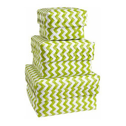 Green Zig Zag Strapping Baskets - These green chevron baskets are oh so hip.