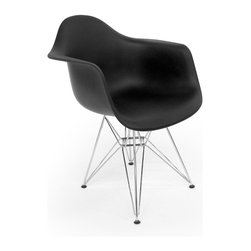 Aeon Furniture - Dijon Eiffel Base Arm Chairs in Black - Set o - Includes 2 Chairs. Plastic Molded Seat. Classic eiffel base in chromed steel finish. Non-marking plastic feet. Assembly Required. Seat Height: 17.75. 22.5 in. L x 24.5 in. W x 31 in. H (12.5 lbs.)Inspired by a true modern classic, our molded plastic arm chair on an eiffel base perfectly compliments any setting.