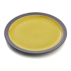 Sol Dinner Plate - Sunny, glossy yellow interiors radiate warmth in casual, rounded shapes and bold rims, glazed bronzy brown. Patterning of reactive glazes will vary from piece to piece.