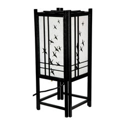 Oriental Unlimited - 18 in. High Traditional Wooden Lattice Crane - Finish: BlackEvokes feelings of serenity. Traditional wooden lattice design. Backed by hand-painted white rice paper with crane motif. UL approved. Uses a 25W medium bulb. 8 in. W x 8 in. D x 18 in. H
