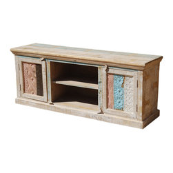 Sierra Living Concepts - Palisade Rustic Wood Media Console - Now you can keep all your entertainment equipment in one central place with our Palisade Rustic Wood Media Console