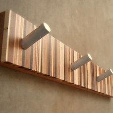 Four-Hook Modern Coat Rack, Mid Century Inspired, in Wood and Metal