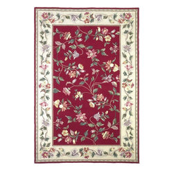 """Kas - Country & Floral Colonial Hallway Runner 2'0""""x8' Runner Crimson Area Rug - The Colonial area rug Collection offers an affordable assortment of Country & Floral stylings. Colonial features a blend of natural Slate Blue color. Hand Hooked of 100% Wool the Colonial Collection is an intriguing compliment to any decor."""