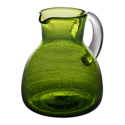 Abigails - Bubble Glass Pitcher, Army Green - A small pitcher in attractive army green bubble makes a perfect item for a cocktail tray or table. Handmade by trapping tiny air bubbles in glass during the production. The bubbles offer texture and interest to any table.