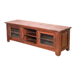 Four Hands - Provence Plasma Console - Forget tiny little hex wrenches and particleboard puzzles. This hand-crafted beauty will show off your media equipment and your style. It features gorgeous, warm wood grains, inset side panels, pyramid-shaped knobs and a cross-planed and distressed plank top for rustic elegance.