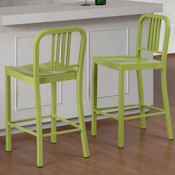 None - Limeade Metal Counter Stool (Set of 2) - Modernize your kitchen or dining area with these limeade counter stools. These stylish stools come in a set of two and are counter height. These stools are sturdy and chic, featuring a 100 percent steel construction and a yellow and green color.