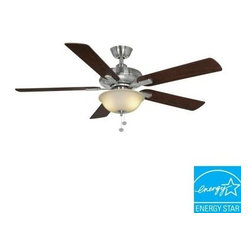 Hampton Bay - Indoor Ceiling Fans: Hampton Bay Larson 52 in. Brushed Nickel Ceiling Fan AL420- - Shop for Lighting & Fans at The Home Depot. The Hampton Bay Larson 52 in. Brushed Nickel Ceiling Fan features a cool nickel finish on the housing complementing the wood finishes of the blades. The reversible blade design offers some flexibility to suit your taste with alternate mahogany and maple finishes. The energy-efficient fan utilizes 13-watt CFL bulbs housed under a frosted dome light. The fan offers 3 speeds and a reversible function allowing you to choose the airflow to suit your comfort level. This fan is Energy Star rated for efficient energy savings all year round.