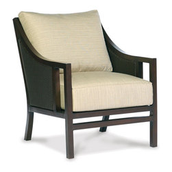 Thos. Baker - Audrey Wicker Outdoor Club Chair - The audrey collection features durable powder-coated aluminum frames with N-duraA all-weather woven wicker inserts in black walnut. The hand applied java powder-coat is almost indistinguishable from genuine mahogany.Generously proportioned seating features fade- and water-resistant Sunbrella all-weather cushions. Immediate availability in Dupione Sand; over 50 alternative colors available made-to-order in 2-3 weeks.The styling says 1960s Mad Men Manhattan.Signature or premium cushion sales are final and ship in 2-3 weeks.