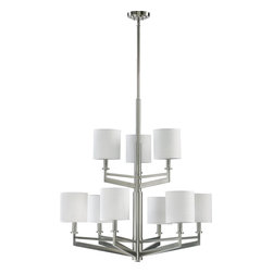 Quorum Lighting - Quorum Lighting Channing Transitional Chandelier X-56-9-2616 - For a clean, remarkable light fixture, this chandelier features white grass shades for a stylish yet minimalist look. The satin nickel finish brings a sleek, urban appeal to the chandelier. The Quorum Lighting Channing Transitional chandelier displays a subtle touch of industrialized influence enhancing the modern element of the design.