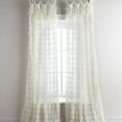 "Horchow - Each Chichi Curtain, 54""W x 84""L - Hand-crocheted linens mix with billowy gauze for a look that's at once comfortably traditional and airily romantic. We had the vendor warm up the color to a nice ivory to keep the clean tonal look from being too stark, then we added just the right note...."