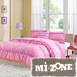 Mi-Zone - Mizone Kayla 4-piece Comforter Set - The Kayla comforter set adds a fun feminine flair to your bedroom. This pink comforter is ruched with bold purple stripes adding pops of color. The ruched detailing creates dimension and texture.