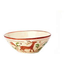 """Vietri Renna Reindeer Cereal Bowl Fall Holiday Italian Dinnerware - The Renna cereal bowl is a festive piece for fall and the holidays. In Italian lore, the reindeer, or renna, is a thing of majesty and grace. Renna's rich, warm colors evoke nature, and the animal's graceful silhouette exudes elegance. Made of terra bianca and handpainted in Umbria. Dishwasher safe. 6.75"""" in diameter and 2.5"""" H"""