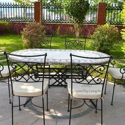"""OUTDOOR DINING TABLE OVAL MARBLE MOSAIC GARDEN PATIO TABLE 71""""-OVALI - Reference: OT908-18-US + OTB3-180B"""