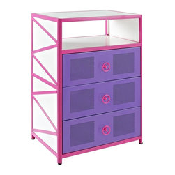 Powell Furniture - 36 in. Chest with 3 Drawers - Perfect complement to girls jeep bed. Ample interior storage space. Three roomy drawers and a shelf for all her treasures. Fun steering wheel pulls. Made from PVC, metal and particleboard. Bright pink, purple and white color. Minimal assembly required. 36 in. W x 16 in. D x 33 in. H (82 lbs.)The Girls Buggy Dresser is perfect for adding an eye-catching, fun accent to a little girls bedroom.