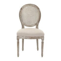 Safavieh - Lehana Side Chair (Set Of 2) - Vintage French charm infuses the romantic Lehana oak side chair. This set of two classic Louis XVI inspired dining chairs, featuring round cane backs and nuanced carved wood details, gets updated with a relaxed grey linen-blend fabric, flat black nailhead trim, and a pickled oak finish. Use these timeless chairs in the boudoir and living room as well as the dining room.