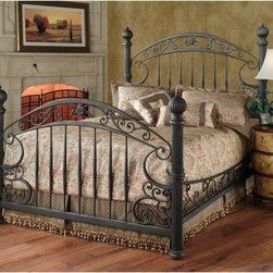 Chesapeake Bed - The Chesapeake Poster Bed is an experiment in paradoxical design as heavy wrought iron twists into a soft delicate shape. The grandly arched headboard and footboard on this striking bed contrast with the sleek vertical slats while extensive scrollwork throughout and rounded finials on the posts finish the lovely look. The wrought iron is finished in an antique pewter over a rustic brown base for a sense of depth and timeworn sophistication. Queen Headboard: 67L x 66.25H inches Footboard: 67L x 43.75H inches King Headboard: 83L x 66.25H inches Footboard: 83L x 43.75H inches About Hillsdale FurnitureLocated in Louisville KY Hillsdale Furniture is a leader in top quality affordable bedroom furniture. Since 1994 Hillsdale has combined the talents of nationally recognized designers and globally accredited factories to bring you furniture styling and design from around the globe. Hillsdale combines the best in finishes materials and designs to bring both beauty and value with every piece. The combination of top quality metal wood stone and leather has given Hillsdale the reputation for leading-edge styling and concepts.