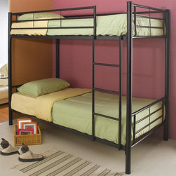 Coaster - Denley Twin Over Twin Bunk Bed (Black) - Color: BlackMattresses not included. Twin over twin bunk bed. Metal frame. Lead free and epoxy powder coat finish. Attached ladder to get up and down. Requires two 9 in. thick twin bunk mattresses. Contemporary style. Scratching and chipping resistant. Large and heavy gauge tubing. Extra heavy duty reinforced brackets. 79 in. L x 42 in. W x 59.5 in. H. Warranty. Bunk Bed Warning. Please read before purchase.. NOTE: ivgStores DOES NOT offer assembly on loft beds or bunk bedsThis distinctive bunk bed will be a cool addition to the youth or teen bedroom in your home. This twin over twin bunk bed will add great style and function to your home.