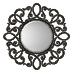 Paragon Decor - Round Silver/Black - Open woven scrolls feature a black rubbed finish with embossed beaded edges in antique gold (mirror size:  20h x 20w).