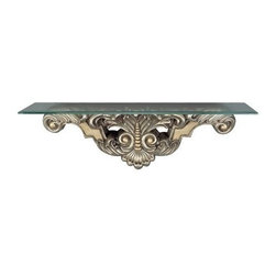 CAL Lighting - Beads and Leaf Wall Mount Console Table in Antique Silver Finish - Leaf and Bead Console Table Wall