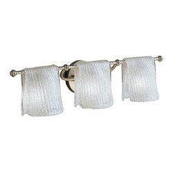 Kichler - Drapes Brushed Nickel Three-Light Bath Fixture - Add charm and whimsy to your bath d�cor with this unique fixture.  Its draped clear ice glass and brushed nickel finish pair handsomely.  The height from the center of the outlet box is 3 3/4?. Kichler - 6313NI