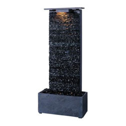 Kenroy - Kenroy-50282GYSL-Bedrock Falls Table Fountain - Indoor Rated Only.
