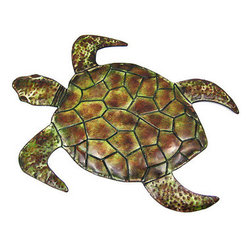 23 Inch Metal Sea Turtle Wall Sculpture Nautical Ocean - This beautiful hand-painted metal sea turtle wall hanging measures 23 inches long, 17 inches high and an inch deep. Featuring wonderful personality, with beautiful earth tones, this wall hanging looks great on the wall of any room or patio with a nautical or sea theme.