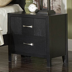 Homelegance - Homelegance York 24 Inch Nightstand in Black - In a market overruns with contemporary offerings, you find yourself looking for something unique. The York Collection's bold ebonized cross-patterned block grain creates movement and a genuinely unique st - 1477-4.  Product features: Belongs to York Collection; Contemporary Style; Bold ebonized cross-patterned block grain creates movement; Genuinely unique style; Bold-framed pattern accented; Brushed nickel handles; Contrasting black finish; Metal Glide; Dovetailed Drawer; 2 Drawers. Product includes: Nightstand (1). 24 Inch Nightstand in Black belongs to York Collection by Homelegance.