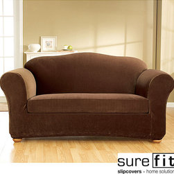 Sure Fit - Stretch Corduroy 3-piece Sofa Slipcover - Give your seating area a new look with this stylish sofa slipcover. The three-piece cover features a corduroy design with memory-stretch fabric that will fit nicely over your sofa. Its solid oak color will fit nicely with your current decor.