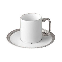 L'Objet - L'Objet Soie Tressee Platinum Tea Cup and Saucer Gift Box - The braid made modern, Soie Tressee offers a distinct, contemporary take on an ancient shape. Limoges porcelain available in White, hand-gilded 24K Gold, or Platinum. Limoges PorcelainPlatinumGift Box Set of 2. L'Objet is best known for using ancient design techniques to create timeless, yet decidedly modern serveware, dishes, home decor and gifts.