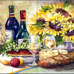 The Tile Mural Store (USA) - Tile Mural - Sunflowers - Kitchen Backsplash Ideas - This beautiful artwork by Jerianne Van Dijk has been digitally reproduced for tiles and depicts a wine scene with cheese, bread and some sunflowers.  Our decorative tiles with wine are perfect to use for your kitchen backsplash tile project. A wine tile mural adds elegance and interest to your kitchen wall tile area and makes a wonderful kitchen backsplash idea. Pictures of wine on tiles and images of wines bottles on tiles and wine glasses on tiles is timeless and these decorative tiles of wine blend with any decor. Your kitchen will come to life with a tile mural featuring wine.