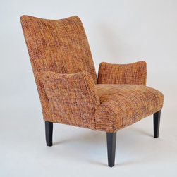 "Julian Chichester ""Butterfly"" Chair w/Orange/Plum tweed Zimmer+Rohde Upholstery - Designer: Julian Chichester"