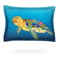 """Kess InHouse - Catherine Holcombe """"Bubbles"""" Blue Turtle Pillow Sham (Cotton, 30"""" x 20"""") - Pairing your already chic duvet cover with playful pillow shams is the perfect way to tie your bedroom together. There are endless possibilities to feed your artistic palette with these imaginative pillow shams. It will looks so elegant you won't want ruin the masterpiece you have created when you go to bed. Not only are these pillow shams nice to look at they are also made from a high quality cotton blend. They are so soft that they will elevate your sleep up to level that is beyond Cloud 9. We always print our goods with the highest quality printing process in order to maintain the integrity of the art that you are adeptly displaying. This means that you won't have to worry about your art fading or your sham loosing it's freshness."""