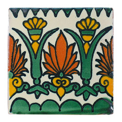Green Floral Pattern Talavera Tiles, Box of 15