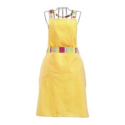 "Tag trade associates group ltd. - Leila And St Tropez Stripe Aprons - Yellow - Nothing wrong with looking pretty in the kitchen. Our hard working Leila stripe apron has a cheerful woven stripe trim. Wide single patch pocket will take a dishcloth or pot holders.  Extra long 70.5"" sash/waist ties. Adjustable neck ties with d-ring closure. 100% cotton. Machine wash cold separately; tumble dry low.  28""W x 34""L"