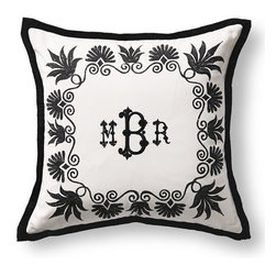 Frontgate - Anthemion Monogrammed Black Outdoor Pillow - 100% solution-dyed acrylic cover. Spot clean with mild soap and water; air-dry only. High-density polyester fill. Zipper closure. Coordinates with the Anthemion Lumbar Pillow and the Medallion Pillow. The plush Outdoor Anthemion Monogram Pillow features a majestic Anthemion-inspired frame and can be personalized with your monogram. The high-density polyester fill means you can enjoy this super soft pillow for years to come.  .  .  .  .  . Made in the USA. Please note: Personalized items are non-returnable.