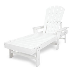 Polywood - Eco-friendly Chaise in White - You'll know what it means to be pampered in the lap of luxury once you lay on this amazing chaise lounge. Want to turn your outdoor living space into the hottest spot in the neighborhood? Its easy with the South Beach Collection. Just like the popular Miami Beach scene, You'll enjoy an eclectic blend of bold art deco along with the relaxed comfort and style that you've come to expect from traditional Adirondack furniture. This collection not only looks amazing, but its also built to last for years to come. Provides the look of painted wood without the maintenance