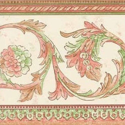 York Wallcoverings - White Red Green Floral Swirls Wallpaper Border - Wallpaper borders bring color, character and detail to a room with exciting new look for your walls - easier and quicker than ever.