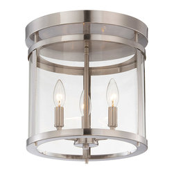 Savoy House - Savoy House 6-1043-3-SN Penrose 3 Light Semi-Flush - Sleek, cylindrical Penrose foyer and ceiling lights from Savoy House are an excellent choice for lovers of stylish modern design. Penrose fixtures feature clear glass and are available in Satin Nickel, Polished Nickel or English Bronze finishes.