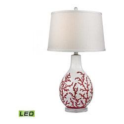 Dimond - One Light White Textured Linen Shade Red With White Table Lamp - One Light White Textured Linen Shade Red With White Table Lamp