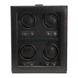 WOLF - Heritage 4PC Watch Winder w/cover in Black - Store your prized timepieces where dust and dirt and gremlins can't get them. Keep them ticking away when you can't wear them. You'll never have to ask for the correct time again.