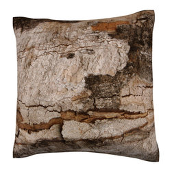 Custom Photo Factory - Close-Up of Bark Polyester-Velour Throw Pillow - Close-Up of Bark Pillow. 18 Inches x 18  Inches.  Made in Los Angeles, CA, Set includes: One (1) pillow. Pattern: Full color dye sublimation art print. Cover closure: Concealed zipper. Cover materials: 100-percent polyester velour. Fill materials: Non-allergenic 100-percent polyester. Pillow shape: Square. Dimensions: 18.45 inches wide x 18.45 inches long. Care instructions: Machine washable