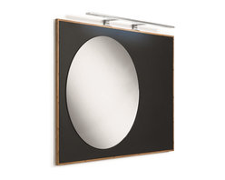 WS Bath Collections - Luni 81143 Mirror with Bamboo Frame and Blackboard Magnetic Surface - Luni by WS Bath Collections, Bamboo Bathroom Vanity Unit with Blackboard Magnetic Surface