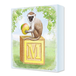 Paintings & Decor for Children's Rooms - M is for Monkey! Mango the Monkey features a Vervet Monkey sitting on a children's wooden letter block, eating a mango. This design is great for toddlers learning their ABC's. The color palette is soft pastels and the edge color is sky blue.