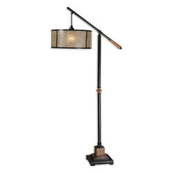 Sitka Lantern Floor Lamp - *Aged Black Metal Accented With Solid Wood Details Finished In A Heavily Distressed Rustic Mahogany And A Light Rottenstone Glaze. The Round Drum Shade Is Made Of Natural Mica With Aged Black Trim.