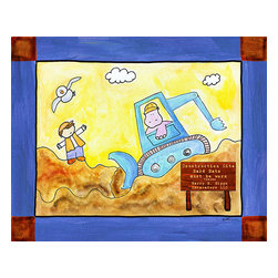 Oh How Cute Kids by Serena Bowman - Lets Get to Work Excavating, Ready To Hang Canvas Kid's Wall Decor, 16 X 20 - True fact : Give a boy a shovel and he will be busy for hours.