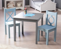 Lipper Hugs and Kisses Table and 2 Chair Set - Gray & Blue - From drawings to puzzles to playsets the Lipper Hugs and Kisses Table and 2 Chair Set - Gray & Blue makes any childhood activity better. Inspired by interior designer Robyn Karp and her love of color and geometry this three-piece set includes a square table and two chairs constructed of quality engineered wood that's built to last. Enjoy the on-trend gray finish and boyishly blue shade for years to come. Each chair can support up to 200 lbs. About Lipper InternationalLipper International provides exceptionally valued kitchen home & office organizers including the Soho Spice Collection; single serve coffee pod organizers; kitchen pantryware cutting boards and tools; serving & entertaining accessories; and children's furniture and toy chests. Lipper uses the finest quality materials including stainless steel bamboo acacia wood chrome- and powder-coated metals and other fine quality hard woods. Known for product functionality as well as beauty and quality craftsmanship Lipper International combines quality style service and price into every product and collection it offers.
