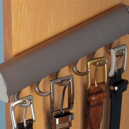 Hafele - Synergy Elite Belt Rack in Matte Nickel - Holds six belts. Warranty: One year. Made from aluminum and zinc. Made in Canada. 11.88 in. W